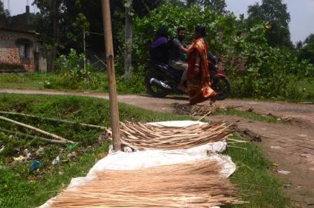 Drying the bamboo stripes under the Sun