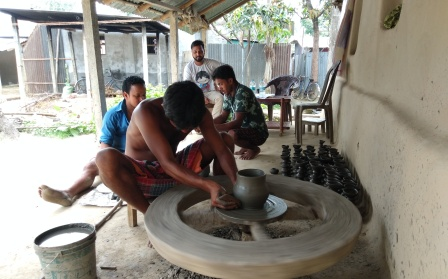 Products are made using pottery-wheel