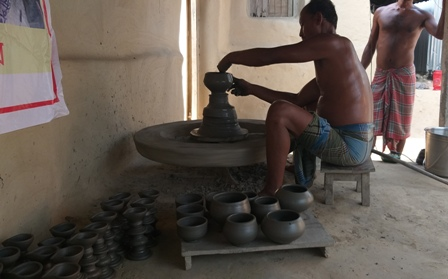 Products are being made on potter's wheel