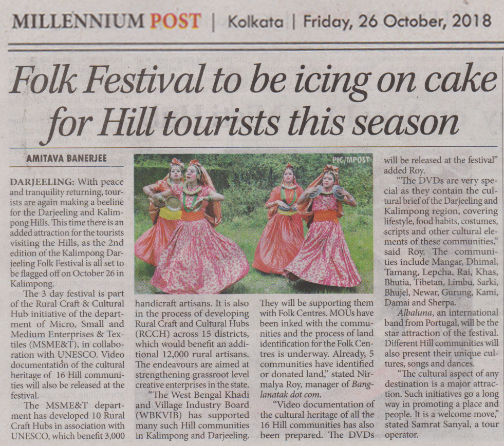 News clippings of Darjeeling Kalimpong Folk Festival 2018_Millennium Post 26-10-2018