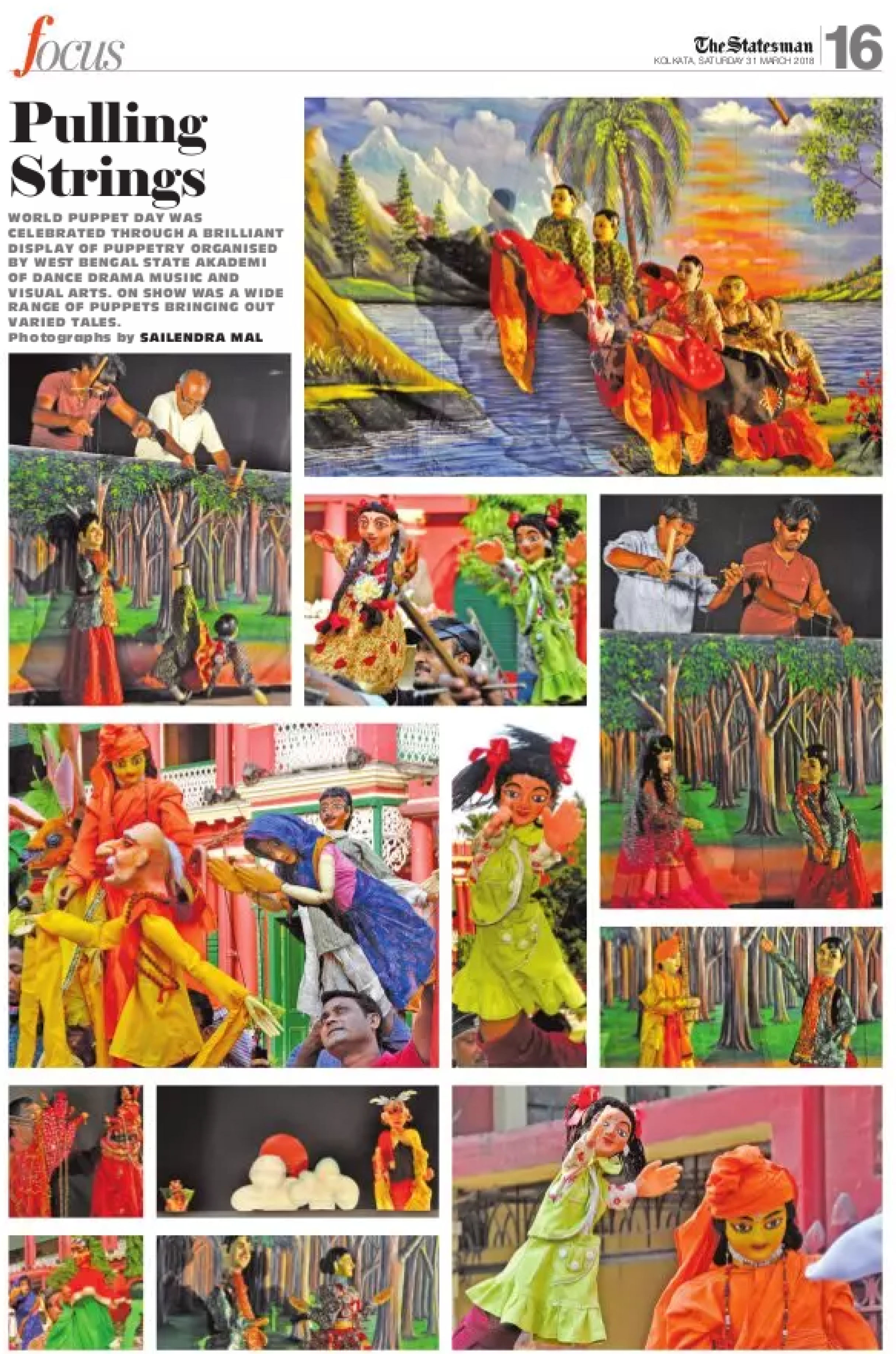 Puppetry on world puppet day covered by The Statesman, 31st March, 2018