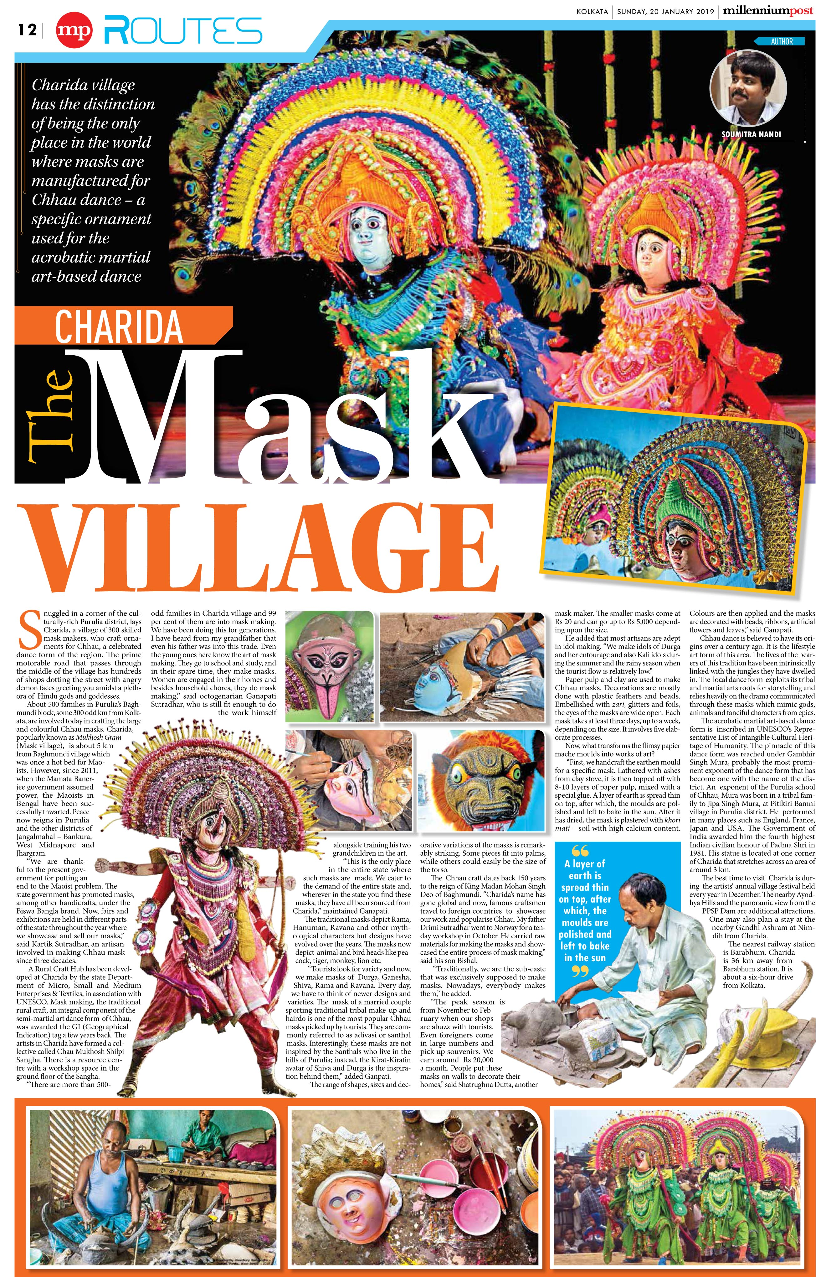 News clippings of Charida Chau mask and village_Millennium Post 20 January 2019